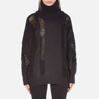 Dkny Women's Long Sleeve Oversized Turtleneck Thick Thin Intarsia Jumper Black