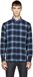Naked And Famous Navy And Blue Flannel Plaid Shirt