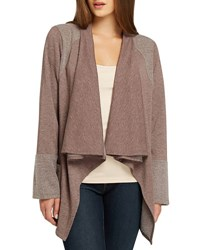 Bobeau Two Pocket Fleece Open Front Cardigan Taupe