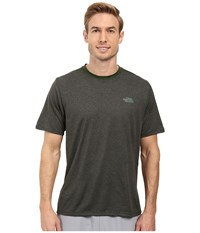 The North Face Reactor Short Sleeve Crew Climbing Ivy Green Heather Men's Clothing Black