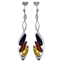 Goldmajor Sterling Silver Amber Drop Earrings Silver Amber