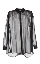 Alberta Ferretti Chiffon Button Up Blouse Black