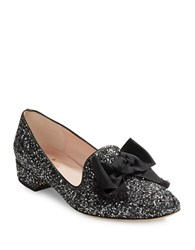 Kate Spade Gino Bow Accent Glitter Loafers Black