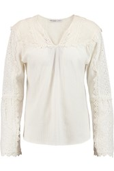 Chelsea Flower Amanda Broderie Anglaise Paneled Cotton Crepe Top White