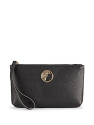 Versace Leather And Goldtone Zip Around Clutch Black