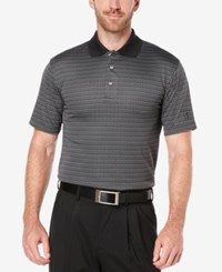 Pga Tour Men's Jacquard Stripe Golf Polo Shirt Blue Ribbon