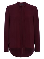 French Connection Pippa Plains Long Sleeve Tie Neck Shirt Zinfandel