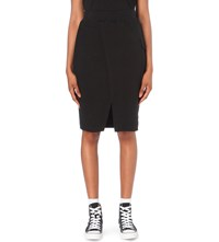 Chocoolate Asymmetric Jersey Skirt Black