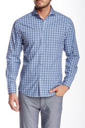 Vince Camuto Long Sleeve Plaid Slim Fit Shirt Blue