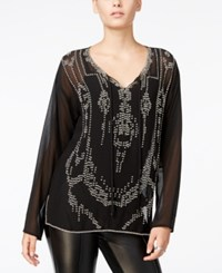 Fair Child Sheer Beaded Top A Macy's Exclusive Black