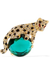 Kenneth Jay Lane Gold Plated Enamel And Crystal Brooch Gold Emerald