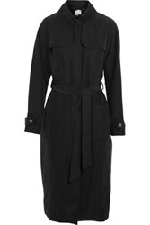 Iris And Ink Barbara Belted Washed Cupro Trench Coat Black