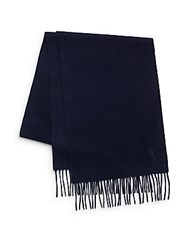 Yves Saint Laurent Wool And Cashmere Scarf Navy