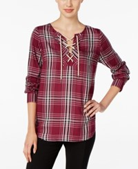 G.H. Bass And Co. Plaid Lace Up Top Only At Macy's Plum Gem Combo