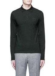 Armani Collezioni Slim Fit Long Sleeve Polo Shirt Green