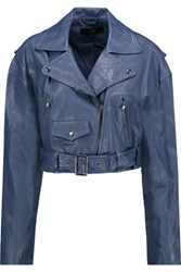 Tibi Anesia Cropped Belted Leather Jacket Storm Blue