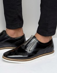 Asos Brogue Shoes In Black Leather With Centre Zip Black