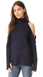 Tibi Winston Flannel Top Navy
