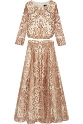 Marchesa Notte Embroidered Tulle Top And Skirt Set Ivory