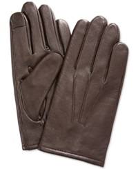 Club Room Gloves Leather Touchscreen Brown