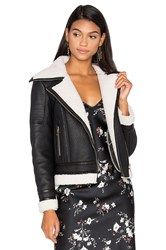 Glamorous Wool And Leather Jacket With Faux Sherpa Lining Black