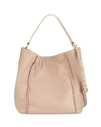 Cole Haan Nickson Whipstitch Trim Leather Hobo Bag Maple Sugar