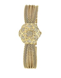Anne Klein Ladies Gold Flower Covered Dial Watch Yellow
