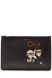Dolce And Gabbana Zipped Leather Pouch Black