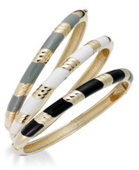 Bar Iii Gold Tone Multi Color Enamel Hinge Bangle Bracelet Set