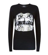 Markus Lupfer Natalie Sequin Python Lips Sweater Female Black
