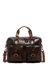 Jack Georges Spikes And Sparrow Double Gusset Top Zip Leather Briefcase Brown