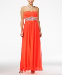 Sequin Hearts Juniors' Jeweled Empire Waist Sweetheart Gown Bright Coral