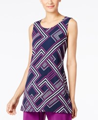 Alfani Printed Tunic Only At Macy's Striped Iris Navy