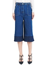 Valentino Long Denim Bermuda Shorts Blue