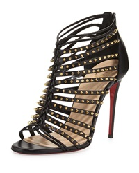 Christian Louboutin Millaclu Mini Spike Red Sole Pump Black Black Gold