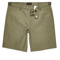 River Island Mens Khaki Slim Fit Chino Buckle Shorts