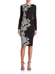 Rickie Freeman For Teri Jon Border Pattern Knit Sheath Black White