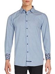 English Laundry Geometric Printed Paisley Cuffs Sport Shirt Navy