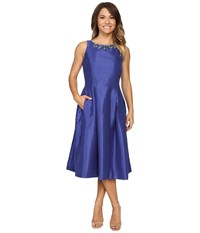 Tahari By Arthur S. Levine Petite Shantung Tea Length W Necklace Dress Sapphire Women's Dress Blue