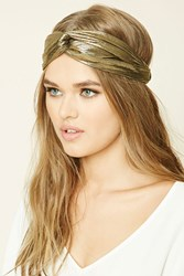 Forever 21 Metallic Twist Front Headwrap Gold