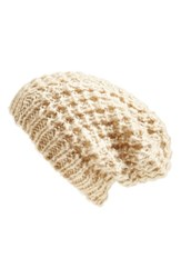 Women's Halogen Waffle Knit Beanie Brown Tan Oxford