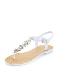 Ivanka Trump Areya Jeweled Jelly Sandal White