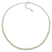 Finesse Rhodium Plated Graduated Faux Pearl Necklace White