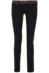 Etoile Isabel Marant Arno Embroidered Mid Rise Skinny Jeans Blue