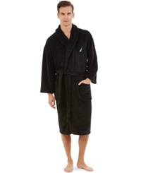 Nautica Plush Solid Robe Black