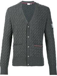 Moncler Gamme Bleu Cable Knit V Neck Cardigan Grey