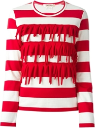 Comme Des Garcons Striped Fringe Detail T Shirt White