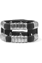 Rick Owens Hammered Silver Tone And Leather Cuff Black