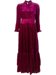Jean Louis Scherrer Vintage Bow Waistband Velvet Maxi Dress Pink And Purple