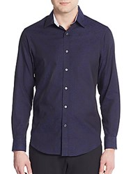 Report Collection Regular Fit Tonal Jacquard Cotton Sportshirt Navy